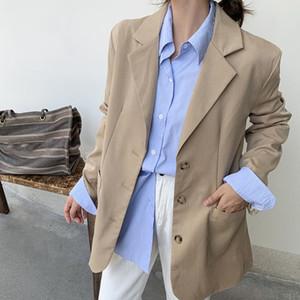 Autumn Korean Style Elegant Blazer Coat Women Solid Single Breasted Loose Fashion Jacket Female 2021 Spring Office Ladies Tops