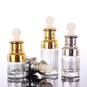 Botellas de perfume de aceite esencial transparente Botellas de reactivo líquido Botellas de pipeta Eye Dropper Aromaterapia Chapado en oro Plata Gorra 20-30-50ML GWD3264