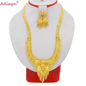 Adixyn Ethiopian Tassel Necklace Earrings Wedding Jewelry Set For Women Gold Color Copper African Dubai Party Gifts N05212 Z1201
