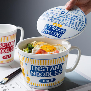 MDZF SWEETHOME 600 800ml Japanese Instant Noodle Bowl With Lid Handle Heat-Resistant Oven Soup Bowl Breakfast Cereal Milk Cup 201214