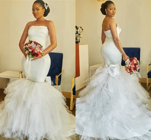 2021 Modern African Wedding Dress Mermaid Style Strapless Ruffles Tulle Skirt Crystal Big Bow Satin Bridal Dress Plus Size Women Party