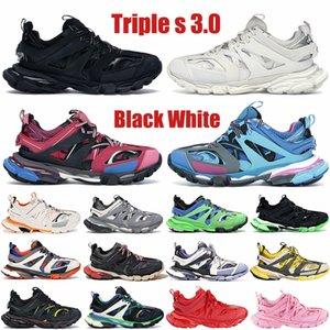 Alta calidad Triple S 3.0 París Plataforma para hombre zapatos casuales negro blanco amarillo rosa resplandor en los hombres oscuros zapatillas de deporte