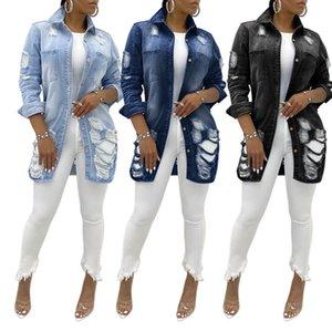 Fashion Jean Jacket Cardigan Smock Ripped Hole Long Sleeve 2020 New Women Denim Elegant Coat Outerwear Trench Vintage Coat