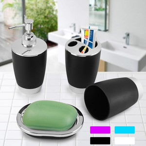 4PcsSet Bathroom Suit Set Bathing Accessories Goods Includes Soap Box Cup Toothbrush Holder Soap Dispenser Dish Set WF1021