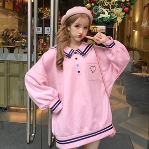 Sailor collar white blue pink oversized hedging embroidered polar fleece warm autumn and winter jacket