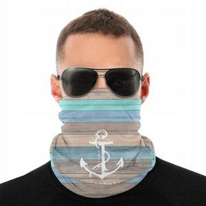Nautical Beach Wood Anchor Magic Scarf Half Face Mask Halloween Neck Warmer Tubular Bandana Polyester Headwear Cycling Hiking