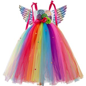 Flower girl wedding party long Decal Sequin dress Girls one shoulder jacquard school graduation party Unicorn rainbow long dress Z1127