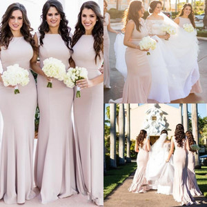 Blush Pink Elegent African Simple Mermaid Long Bridesmaid Dresses Custom Made Stretchy Plus Size Wedding Guest Gowns Maid Of Honor Dresses