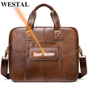 WESTAL Men Briefcase Genuine Leather Laptop Bag Men Messenger Business Man Briefcase Office Handbag Shoulder Bags Engraved 7402