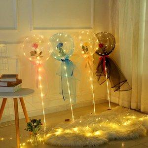 Valentines Day Flashing Light Rose Bouquet LED Balloons Light Luminous Bobo Ball Balloon Lover Gifts Birthday Wedding LLA186