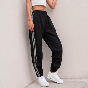 Pantaloni della lettere della banda del lato della laterali della moda di Houzhou 2019 estate della vita alta della vita della matita di estate del cargo jogger Harajuku Sweatspants1