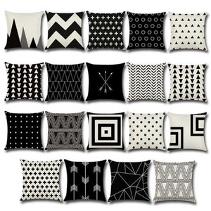 Black and White Decorative Geometric Cushion Pillowcase for Sofa Polyester 45*45 Throw Pillow Covers