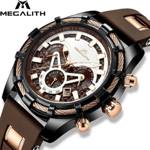 Megalith Rahat Spor Saatler Erkekler Üst Kuvars Bilek İzle Adam Moda Su Geçirmez Saat Watche Man 8042