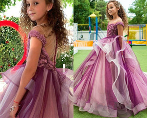 Fuchsia Tiered Tulle Flower Girl Dress Jewel Sheer Neck Sleeveless Appliqued Lace Beaded Pageant Gown Sweep Train Birthday Gown Custom Made