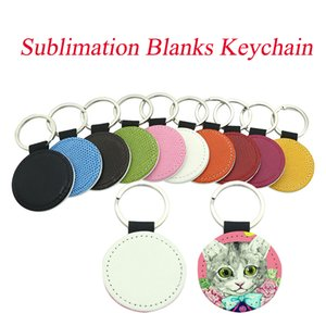 DIY Sublimation Blanks Keychain PU Leather Keychain for Christmas Heat Transfer Keychain Keyring for DIY Craft Supplies