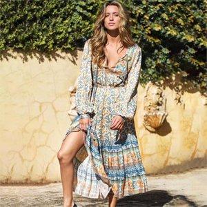 Jastie Outono Vestido Bohemian Floral Impressão Longa Manga Tassel Midi Vestidos V-Pescoço Solto Mulheres Vestido Hippie Chic Beach Vestidos1