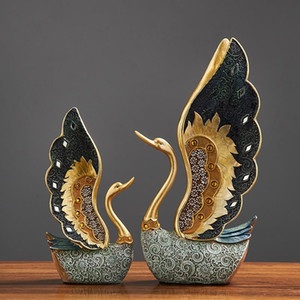 European Resin Couple Swan Ornament Home Decoration Crafts Wedding Gift Home Desk Figurines TV Cabinet Office Statue Accessories