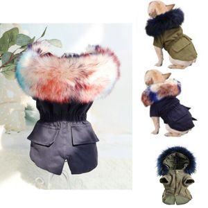 Теплая зима Одежда для собак Роскошный Coat Толстовки меха собак для собак Маленький Средний ветрозащитный Pet Одежда руно подкладке куртки Puppy 2 Colors HH9-3601