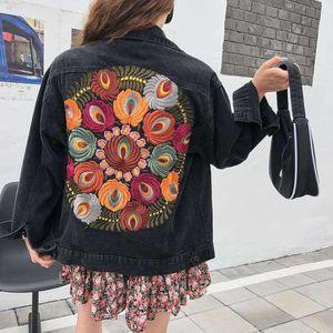 2021 Gothic Dark Black Denim Jacket for Woman Autumn Winter Designer Luxury Woman Clothing Harajuku kpop Korean Style