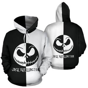 New Black White Splicing 3D Skull Printed Hallowmas Hoodies Men Women Autumn sweatshirt Funny pumpkin lamp Hoodie