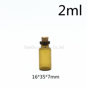 Free shipping 50pcs lot 2ml amber Mini Glass Bottle with Cork, 2cc Small Sample Vials, Cork Bottle,Glass Container