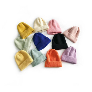 New Autumn Winter Kids Knitted Hat Candy Color Caps Children Knitted Beanies Boys Girls Hats Z1128