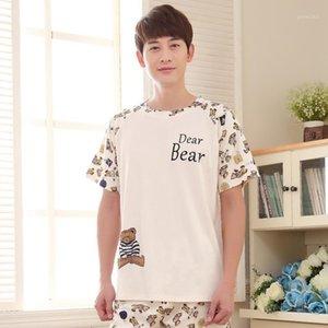 Мужские летние новых милых корейских 2020 хлопок с коротким рукавом шорты мужская молодость XL Pajamas Pajama Sets Mens Pajama Set Men Sleearwear1