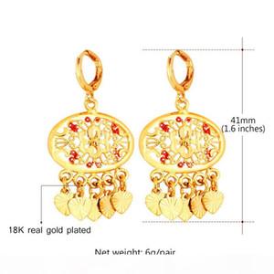 Women's 18K Real Gold Plated Earrings Fashion Jewelry 2015 New Trendy Heart Charms Bohemian Drop Earrings