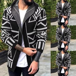 Mens Hooded Cardigan Sweater Warm New Fashion Autumn Winter Korean Style Male Slim Long Knitted Jacket Coats