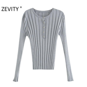 ZEVITY New women fashion o neck solid color thread knitting Sweater chic female long sleeve casual slim leisure tops S406