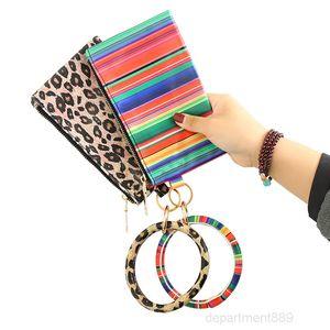 Xun Leopard Print PU Tassel Pendant Ladies Leather Keychain Bracelet Wallet Mobile Phone Bag Christmas Gift OWF3056