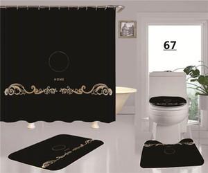 블랙 클래식 화장실 시트 커버 골드 - 여신 인쇄 샤워 커튼 비 슬립 욕실 바닥 매트 유럽 스타일 홈 장식용 세트