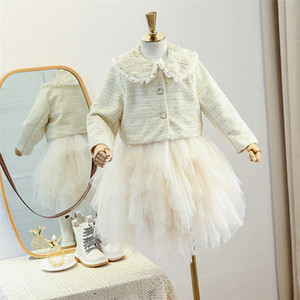 Winter Girls princess outfits children beaded embroidered ruffle lapel plaid coat+thicken lace gauze vest tutu dress 2pcs sets A5204