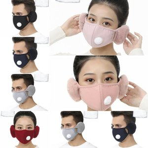 Cover Protective Face Mask 2 With Plush Ear In 1 Mask PM2.5 Thick Warm Mouth Masks Winter Mouth-Muffle Earflap 6 StyleDXC1