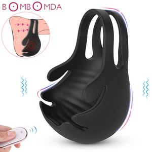 Vibrating Penis Massager Maschio Castity Cock Ring Vibrator Sexy Giocattoli per uomo Wireless Testical Testical Vibratore Mens Masturbatore