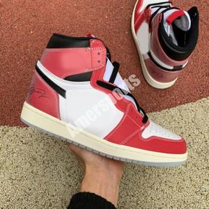2021 1S 1S Chicago Crystal Fond Red White Jumpman Designer Haut avec boîte OG Hommes Chaussures Sneakers DA2728 100 US12
