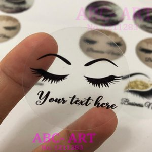 100 pieces 3CM-7CM ,Clear eyelash custom sticker , Lashes custom logo sticker, Business lash logo stickers