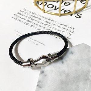 Pulseira de ferradura ímã fecho de aço pulseira titanium aço inoxidável estilo minimalista moda designer de luxo jóias para mulheres