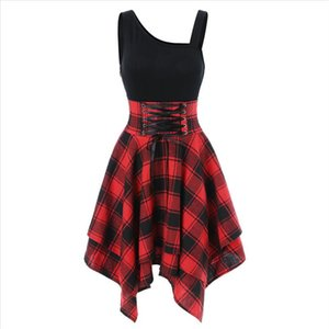 Women Gothic Dress Plaid Mini Sexy High Waist Asymmetric Casual Female Elegant Goth Punk Short Party Lace Dresses Jurken T2G