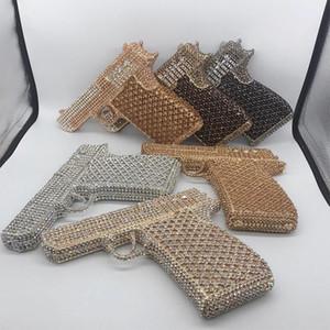 새로운 도착 권총 크리스탈 클러치 지갑 최고의 디자인 총 모양 실버 / 골드 / 샴페인 6 색 저녁 다이아몬드 클러치 핸드백