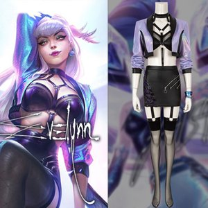 Lol kda 2020 s10 finais estágio Evelynn cosplay liga de lendas desempenho uniforme sexy terno traje de halloween