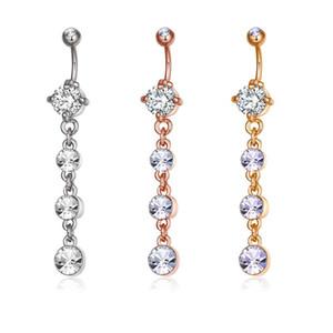 Mode zircon sexy long ventilerie rose or navel piercing femmes ventre belly anneau nombril bijoux