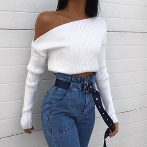 Women Casual Solid Color Knitted Shirt Long Sleeve Skew Collar One Shoulder Off Slim Stretch Blouse Basic Top Autumn Clothes