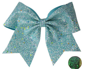 """NEW CHRISTMAS Glowing 7"""" Cheer Hair Bow Luminous Elastic Rubber For Girl Chunky Glitter Leather Sheets Glow In The Dark"""