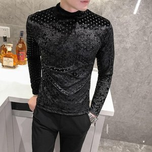 Point T-shirt Men Long Sleeve T-shirt British Style Turtleneck Bottoming Vintage T Shirts Club Outfits Simplicity T Shirt Men