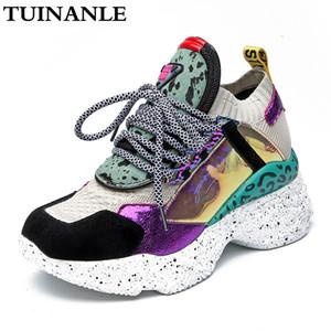 Tuinanle 2020 Nuove sneakers Donne 35-42 Piattaforma Sneakers Bianco Scarpe da cavallo Scarpe da criniera Casual Boots Traspirante Donna morbida Scarpe Chunky C1120