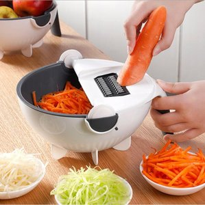 New Upgraded Multi-function Nine In One Asphalt Cutters Potato Slicer Grater Double Vegetables & Fruits Drain Basket Kitchen Tool HA1496
