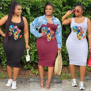 womens dresses Women Cartoon Print Sleeveless Tank Midi Dress Fashion Tee Dresses Drop Shipping Good Quality