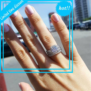 Moonso 925 Sterling Silver Ring Set O Finger For Betting Engagement Bridal Gum Women 2021 New Jewelry R4210XS