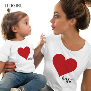 LILIGIRL 2020 New Family Matching Clothes Summer Mother Daughter Love Print Short-Sleeved T-shirt Mommy and Me Clothing